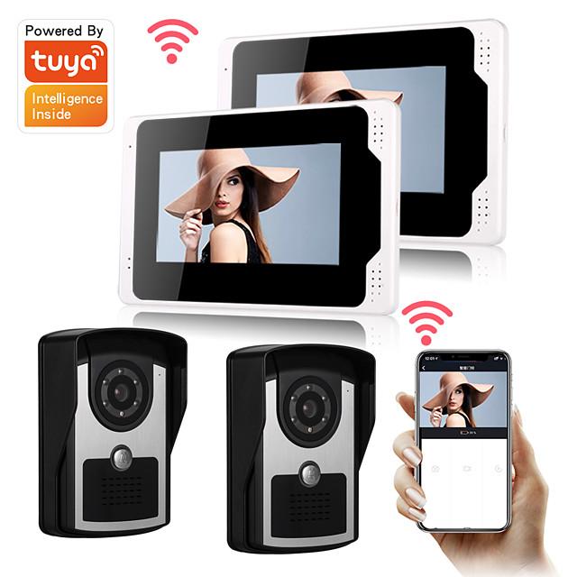 Tuya Smartlife 1080P HD Camera DoorBell 7inch Monitor Video door bell Visual Intercom Rainproof Door Camera PIR Motion Detectore Snapshot