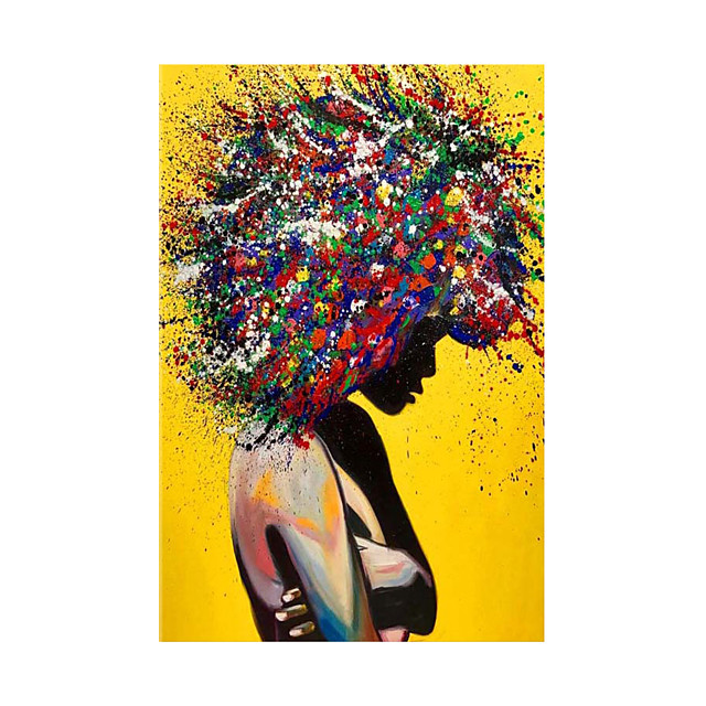 Oil Painting Hand Painted Vertical Abstract People Modern Rolled Canvas (No Frame)
