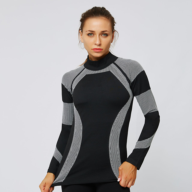 Women's Yoga Top Winter Seamless Fashion Black Lycra Yoga Fitness Gym Workout Tee Tshirt Long Sleeve Sport Activewear Breathable Quick Dry Comfortable Stretchy