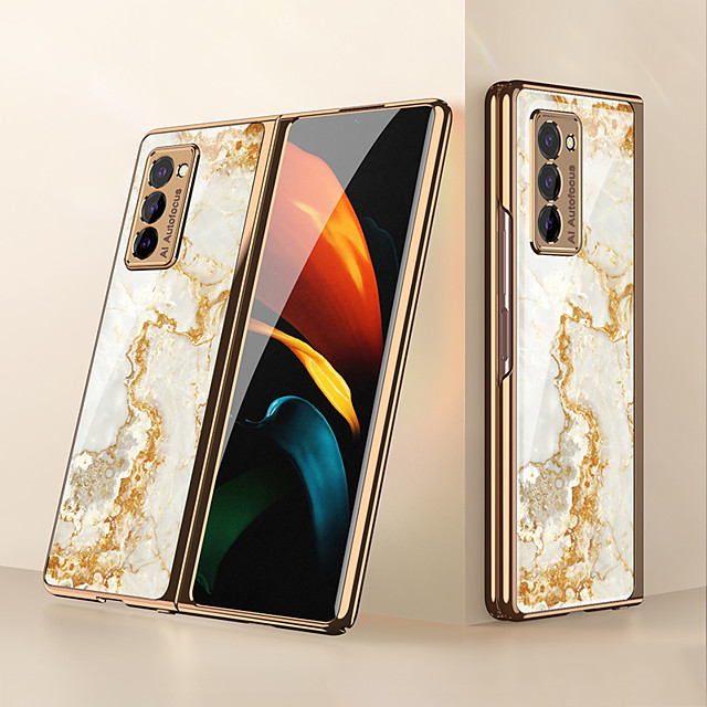 Phone Case For Samsung Galaxy Back Cover Galaxy Z Fold 2 Shockproof Dustproof Lines / Waves Marble PC