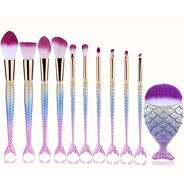 makeup brush set,  10 pcs mermaid brush light color premium synthetic silver foundation blending blush face powder brush makeup brush kit (multicolor)