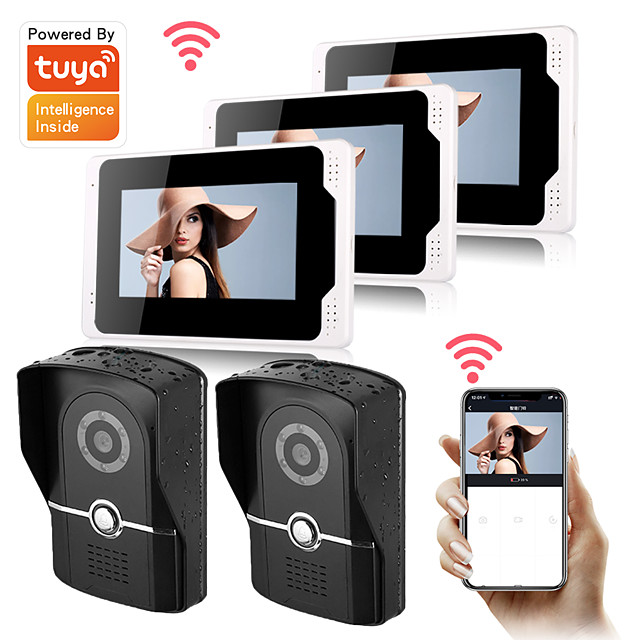 WIFI / Wired & Wireless Video Door Phone Intercom with 1080P HD Camera Support Electronic Lock Motion Detect Tuya APP remote control Snapshot and Recording