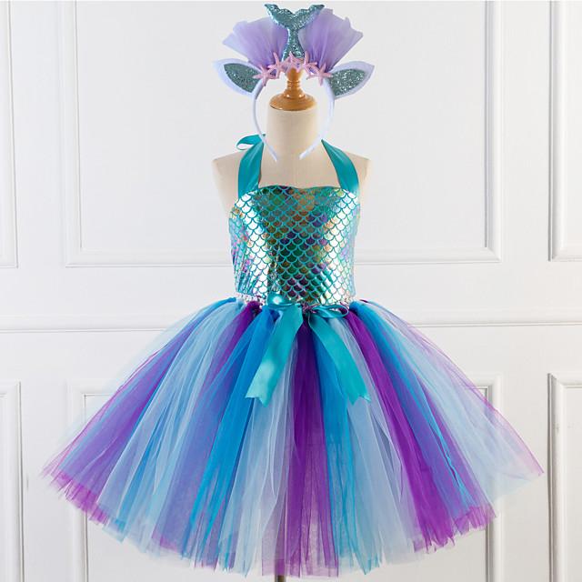 Princess Cosplay Costume Costume Girls' Movie Cosplay Tutus Braided / Cord Purple / Blue Dress Headwear Christmas Halloween Carnival Polyester / Cotton Polyester