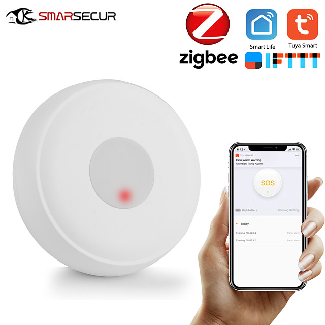 Zigbee Wireless SOS/Emergency Button Pager for Fall Alarm Patient Alert System Work with Tuya Zigbee Hub