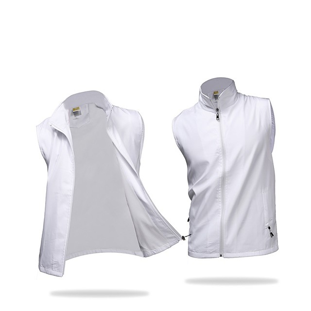 Men's Golf Outdoor Exercise Vest / Gilet Windproof Rain Waterproof Breathability Sports & Outdoor Autumn / Fall Spring Solid Colored White Black Purple Yellow Red