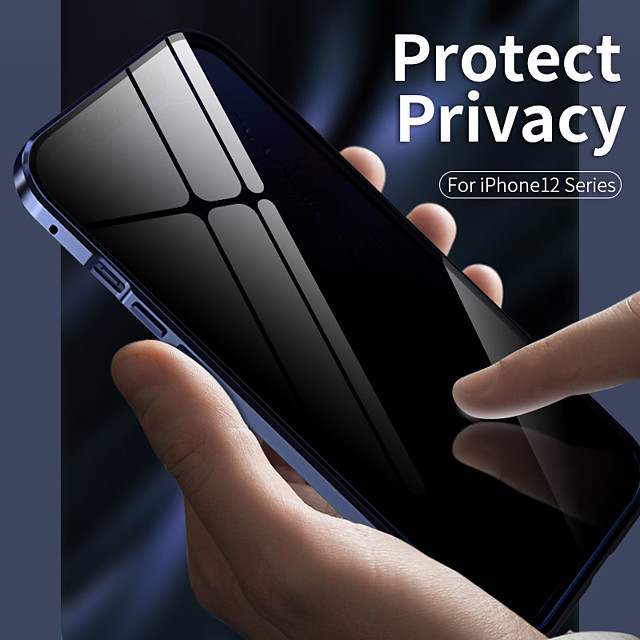 Magnetic Anti Peep Case For Apple iPhone 12 / iPhone 12 Mini / iPhone 12 Pro Max Shockproof / Transparent Full Body Cases Transparent Metal