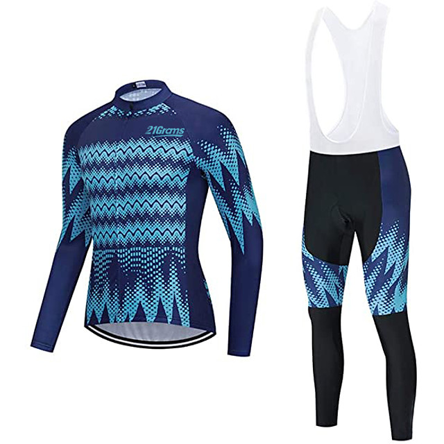 21Grams Men's Long Sleeve Cycling Jersey with Bib Tights Winter Fleece Polyester Dark Navy Bike Clothing Suit Thermal Warm Fleece Lining Breathable 3D Pad Quick Dry Sports Graphic Mountain Bike MTB