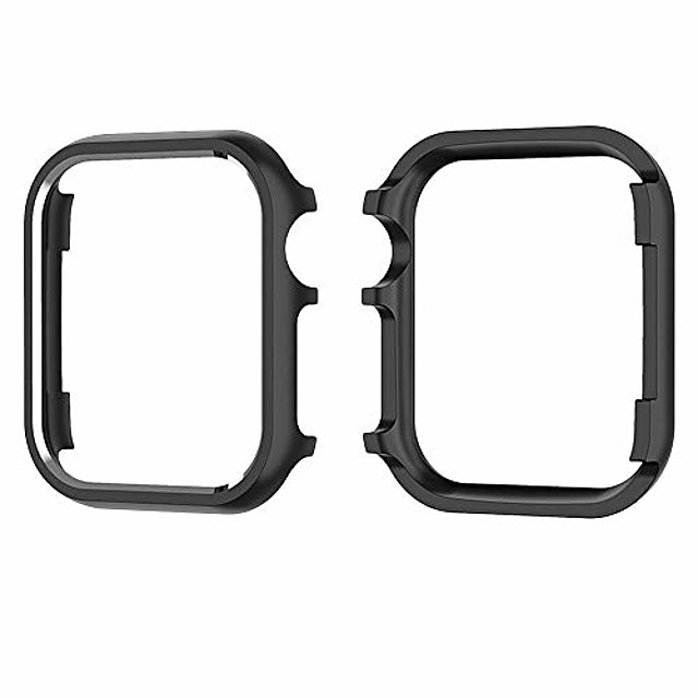 case cover for apple watch series 4, aluminum alloy protective cover hard frame shell 40mm 44mm for men women (black, 44 mm)