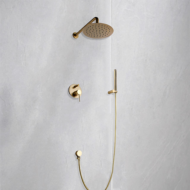 Brushed Gold Wall Mounted Shower Faucet Set, Rainfall Contemporary Spray Portable Type Bath Shower Mixer Taps with Cold and Hot Water