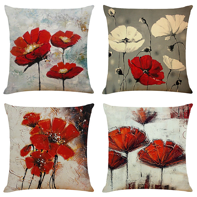 Set of 4 Artistic Flowers Linen Square Decorative Throw Pillow Cases Sofa Cushion Covers 18x18
