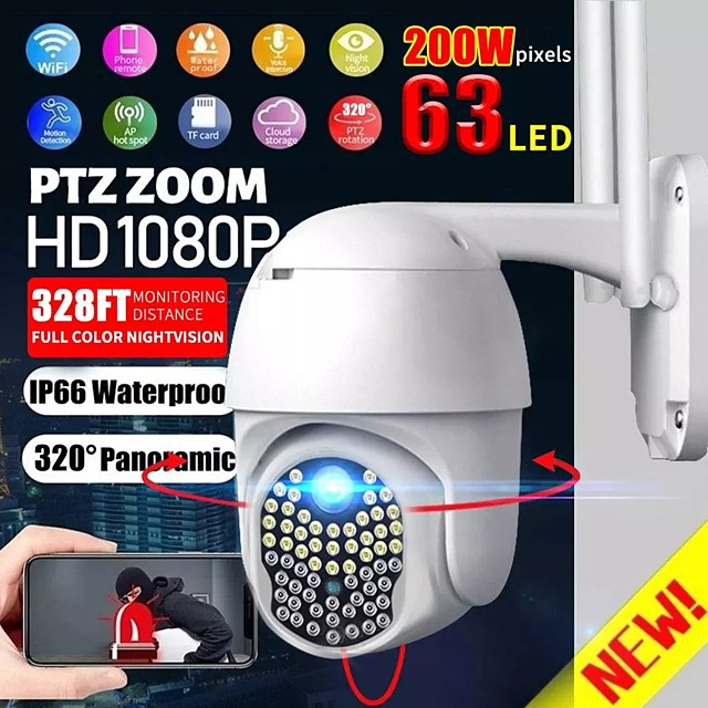 IP66 Wifi Security Camera AU White Auto Tracking/Two-Way Audio/Motion Detection Night Vision ONVIF/PTZ 63 Lights 1080p Rotate AP