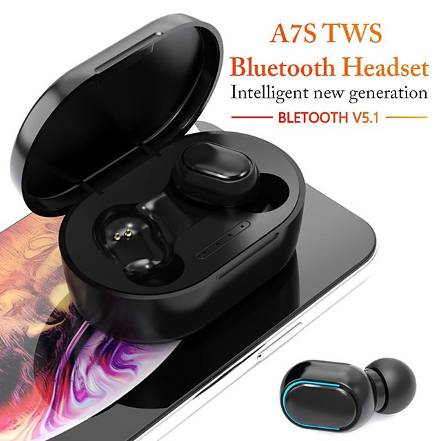 A7S Wireless Earbuds TWS Headphones Bluetooth5.0 Stereo with Microphone with Volume Control with Charging Box Auto Pairing for Mobile Phone