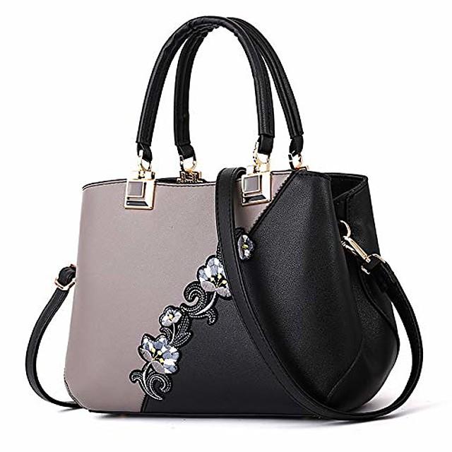 embroidery women top handle satchel handbags shoulder bag tote purse messenger bags