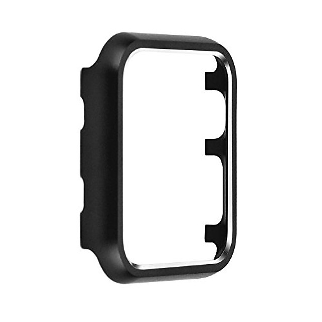metal protective smartwatch bumper 38mm, matte finish aluminum alloy frame cover case compatible with apple watch 38mm series 3, series 2, series 1 - black