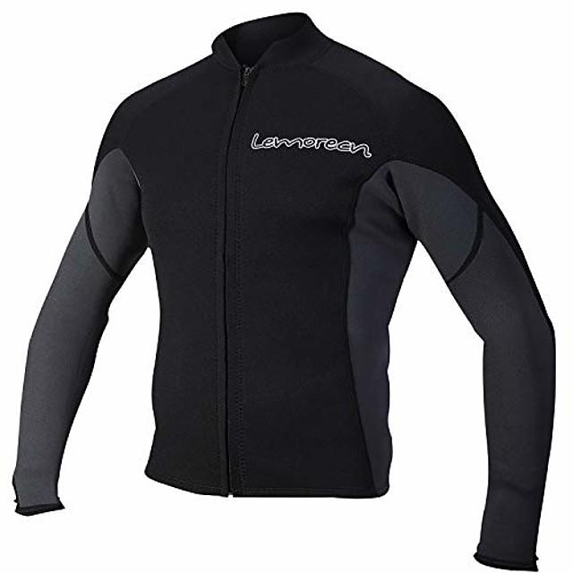 men's 2mm wetsuits jacket long sleeve neoprene wetsuits top (2021blackgray-s)