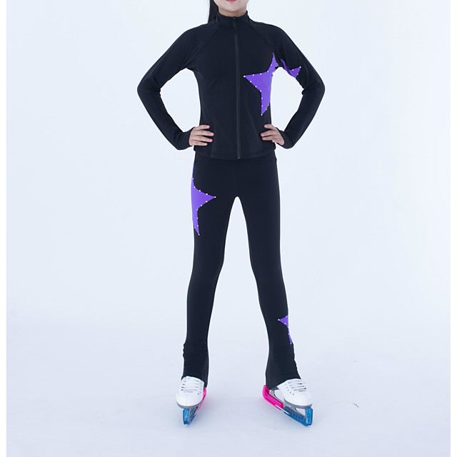 Figure Skating Jacket with Pants Boys' Girls' Ice Skating Jacket Pants / Trousers Top Purple Patchwork Fleece Stretchy Training Skating Wear Thermal Warm Handmade Patchwork Crystal / Rhinestone Long
