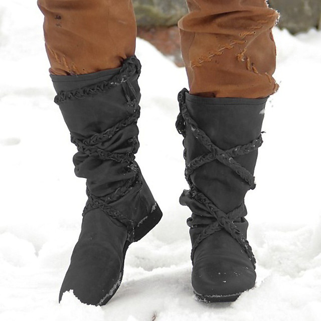 Women's Boots Snow Boots Cowboy Western Boots Block Heel Round Toe Over The Knee Boots Casual Basic Daily Walking Shoes PU Solid Colored Dark Grey Dark Brown Black / Mid-Calf Boots
