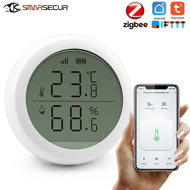 Smart home Tuya Zigbee Temperature Humidity Sensor High Accuracy T&H Sensor Work with Gateway Hub with display