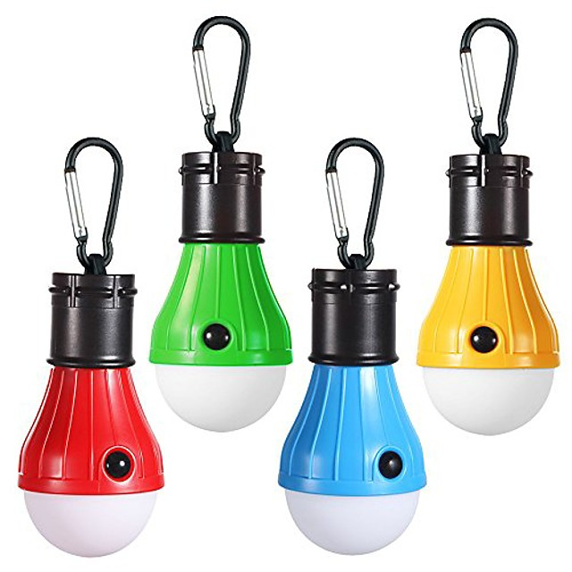 led campings light [4 pack] portable led tent lanterns with carabiner for backpacking camping hiking fishing emergency light battery powered lamp for outdoor and indoor