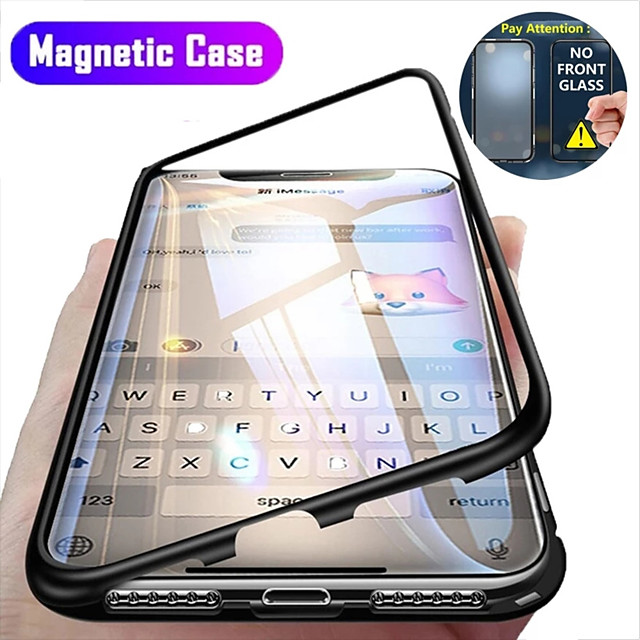 Case For Apple iPhone 12 / iPhone 12 Mini / iPhone 12 Pro Max Flip / Magnetic Back Cover Solid Colored Tempered Glass / Metal