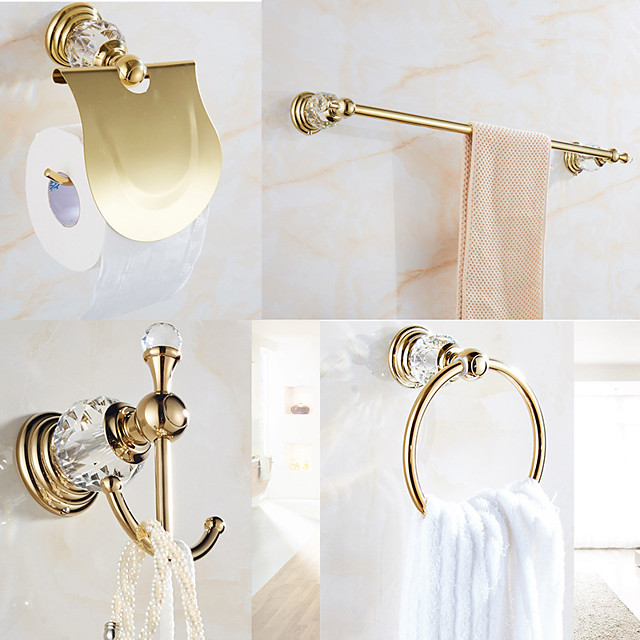 Golden Bathroom Hardware Accessory Set Includes Towel Bar, Robe Hook, Towel Holder, Toilet Paper Holder, Stainless Steel - for Home and Hotel bathroom Wall Mounted