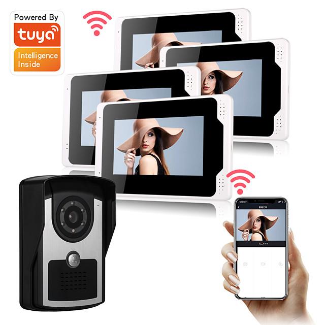 WIFI / Wired 2.0MP Tuya App Doorbell Camera Smart Home Rainproof 7inch Monitor Support 64G TF Storage Video Intercom Doorbell PIR Motion Detection Security CCTV