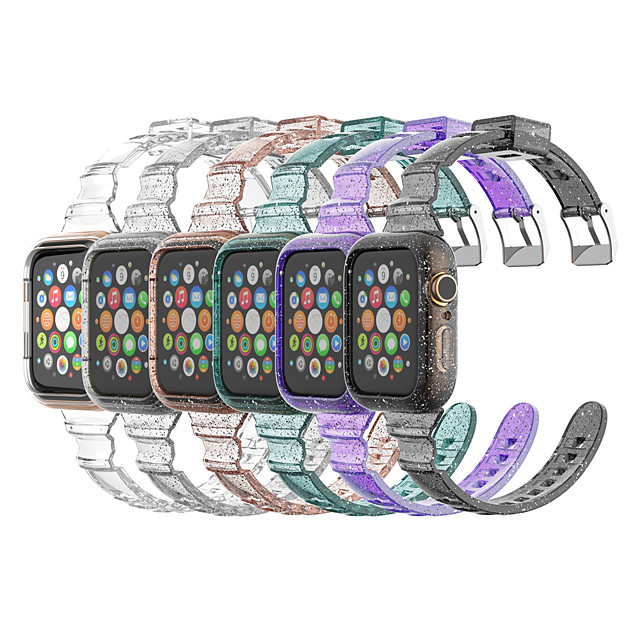 Transparent Shining Bright Conjoined  Silicone Wrist Strap for Apple Watch Series 5/4/3/2/1 Band Sport Strap Bracelet Belt