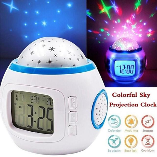 Bedroom LED Digital Alarm Clock Starry Sky Kids Alarm Baby Room Calendar Thermometer Night Light Projector