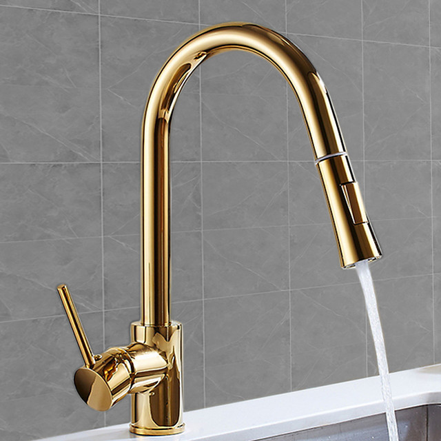 Pullout Spray Kitchen faucet - Single Handle One Hole Electroplated Pull-out / Pull-down / Tall / High Arc Free Standing Ordinary Kitchen Taps / Brass