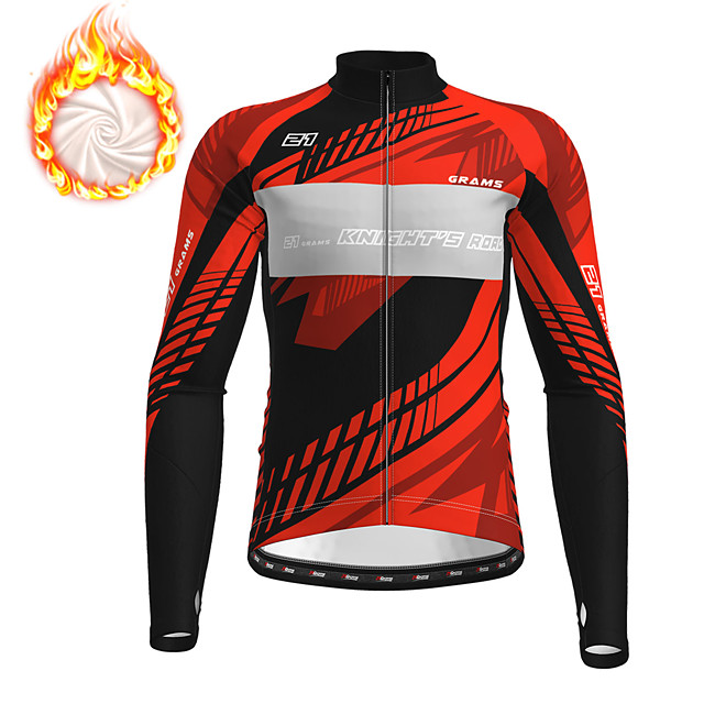 21Grams Men's Long Sleeve Cycling Jersey Winter Fleece Polyester Red Blue Green Bike Jersey Top Mountain Bike MTB Road Bike Cycling Fleece Lining Breathable Warm Sports Clothing Apparel / Stretchy