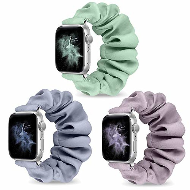 watch band compatible for apple watch band 44mm 42mm 40mm 38mm women girls, elastic fabric wristband replacement band compatible with iwatch series 6 5 4 3 se 2 1(3pcs-b,42mm/44mm-m)