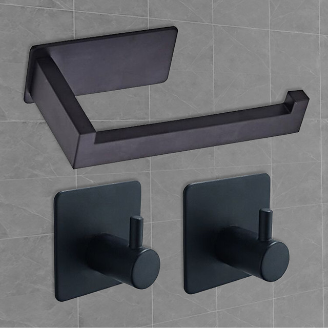 3M Self-adhesive Bathroom Accessories Set Stainless Steel Contain with Tissue Holder and 2 Robe Hooks Matte Black Brushed Silver