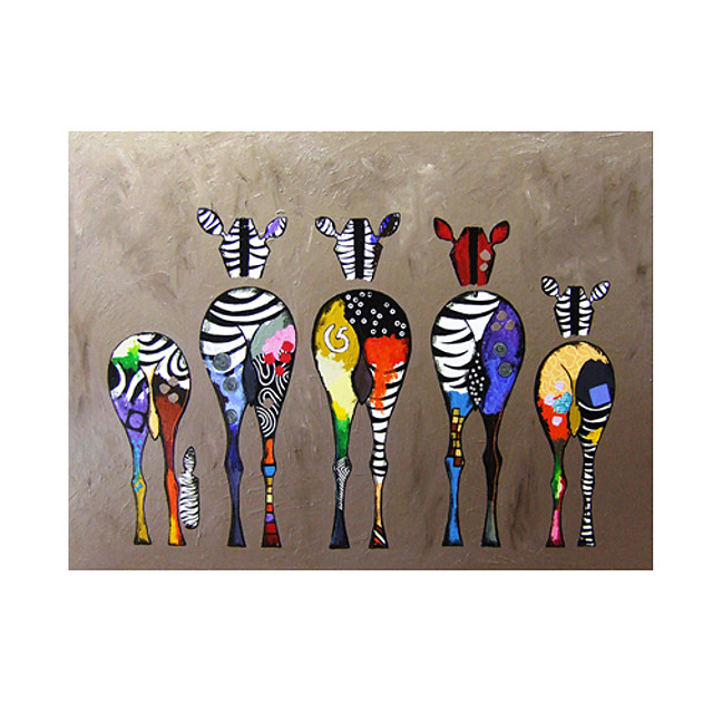 Oil Painting Handmade Hand Painted Wall Art Home Decoration Décor Living Room Bedroom Animal Colorful Zebra Rolled Canvas Rolled Without Frame