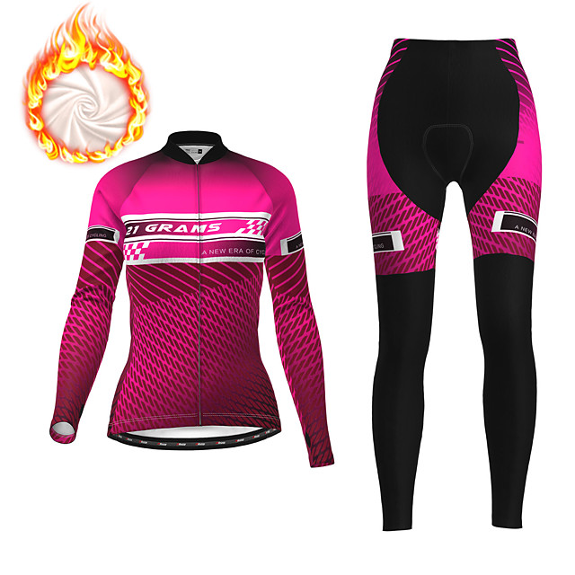 21Grams Women's Long Sleeve Cycling Jersey with Tights Winter Fleece Polyester Fuchsia Blue Orange Bike Clothing Suit Fleece Lining Breathable 3D Pad Warm Quick Dry Sports Graphic Mountain Bike MTB