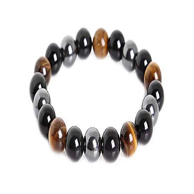 triple protection bracelet for protection bring luck and prosperity hematite black obsidian tiger eye stone bracelets (10mm)