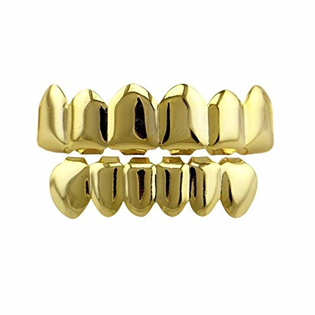 24k gold plated hip hop punk custom fit teeth grillz caps top & bottom grill set removable (gold)