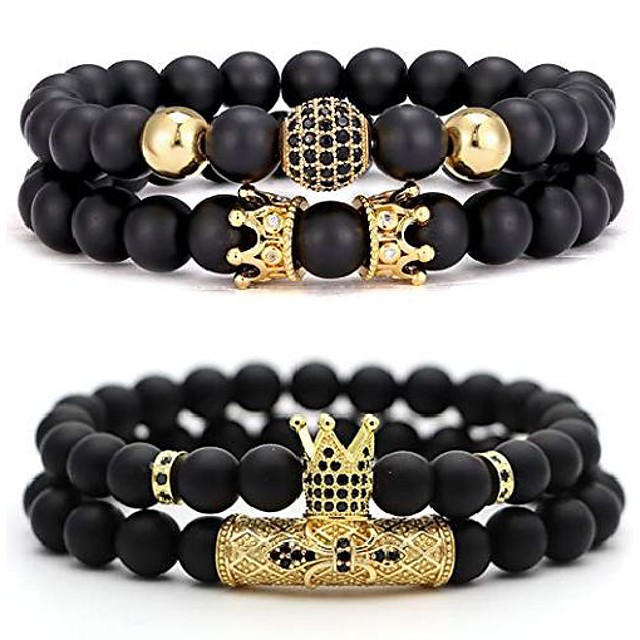 4 pcs 8mm crown king charm beads bracelet for men women natural black matte onyx stone beads father's day gift, 7.5