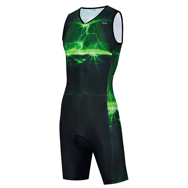 WECYCLE Men's Women's Sleeveless Triathlon Tri Suit Polyester Green Bike Clothing Suit Breathable 3D Pad Quick Dry Reflective Strips Back Pocket Sports Graphic Mountain Bike MTB Road Bike Cycling