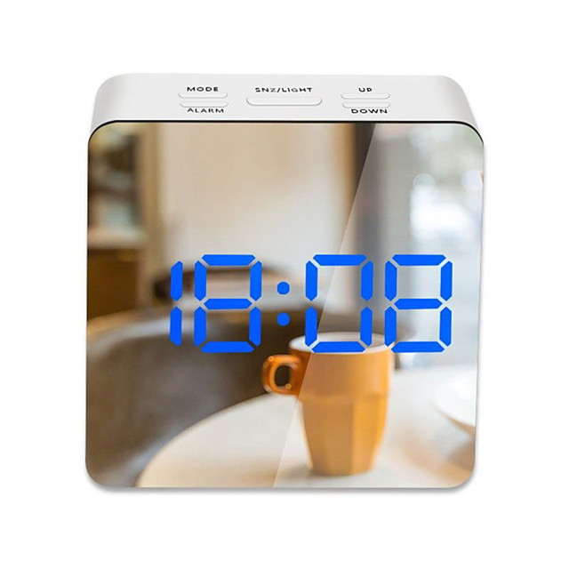 LED Light Mirror Alarm Clock with Dimmer Nap Temperature Function for Office Bedroom Travel Digital Clock Home Decor