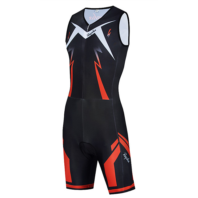WECYCLE Men's Women's Sleeveless Triathlon Tri Suit Polyester Black Bike Clothing Suit Breathable 3D Pad Quick Dry Reflective Strips Back Pocket Sports Graphic Mountain Bike MTB Road Bike Cycling