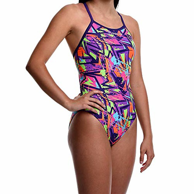 flow funky swimsuits for girls - size 23 to 30 one piece competition swim suit in eight rad swimsuit designs (25 hyperactive)