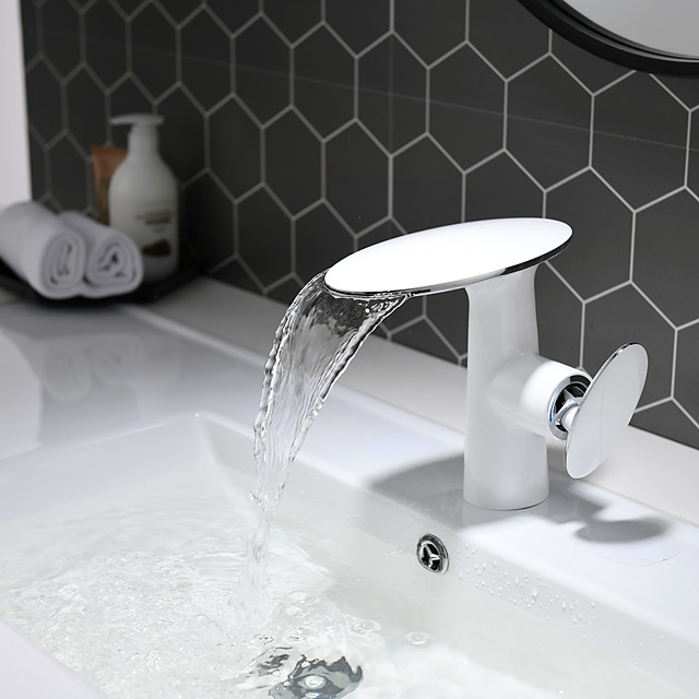 Bathroom Sink Faucet - White and Chrome Basin Faucet Waterfall Painted Finishes Centerset Single Handle One Hole Bath Vanity Vessel Sink Mixer Taps for Hotel / Home Shower Room