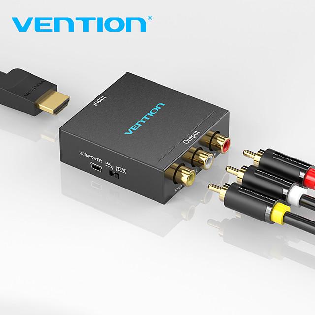 vention HDMI-kompatibel zu AV-Konverter HDMI-kompatibel zu rca CVBs L/R-Videoadapter 1080p HDMI-kompatibler Switch mit Mini-USB-Stromkabel für TV-Box AV HDMI-kompatibel
