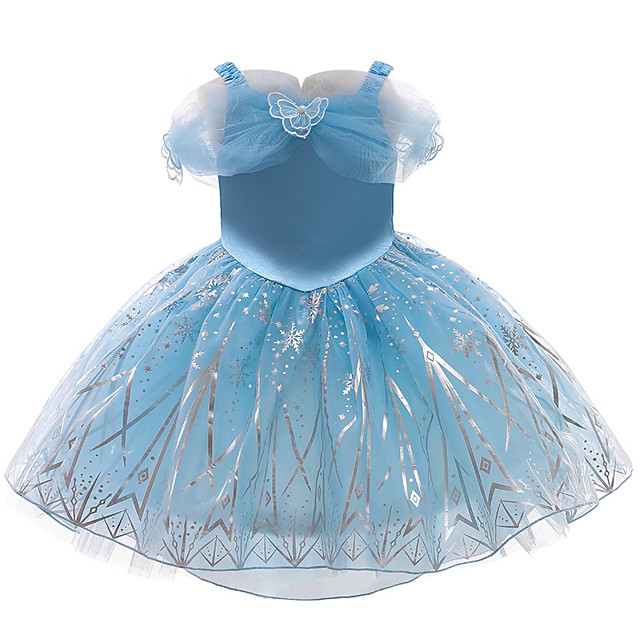 Princess Cosplay Costume Costume Girls' Movie Cosplay Sweet Euramerican Blue Dress Christmas Halloween Carnival Polyester / Cotton Polyester