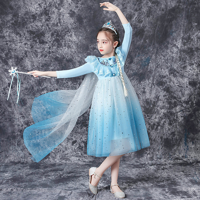 Princess Cosplay Costume Masquerade Girls' Movie Cosplay A-Line Slip Vacation Blue Dress Halloween Children's Day Masquerade Polyester Organza