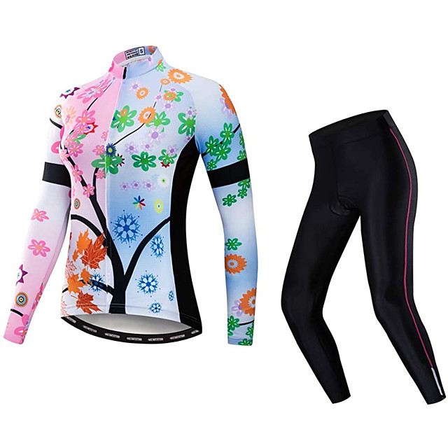 21Grams Women's Long Sleeve Cycling Jersey with Tights Winter Fleece Polyester Pink Floral Bike Clothing Suit Breathable 3D Pad Warm Quick Dry Reflective Strips Sports Floral Mountain Bike MTB Road