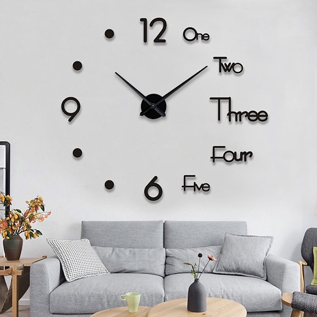 Wall Clock Fashion DIY Plastic Metal Acrylic Stainless steel Round Indoor / Outdoor (100cm x 100cm)