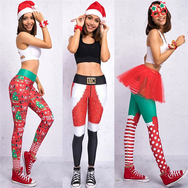 Women's High Waist Yoga Pants Leggings Tummy Control Butt Lift Breathable Christmas Red / White Black / Red White+Red Fitness Gym Workout Running Winter Sports Activewear High Elasticity Skinny