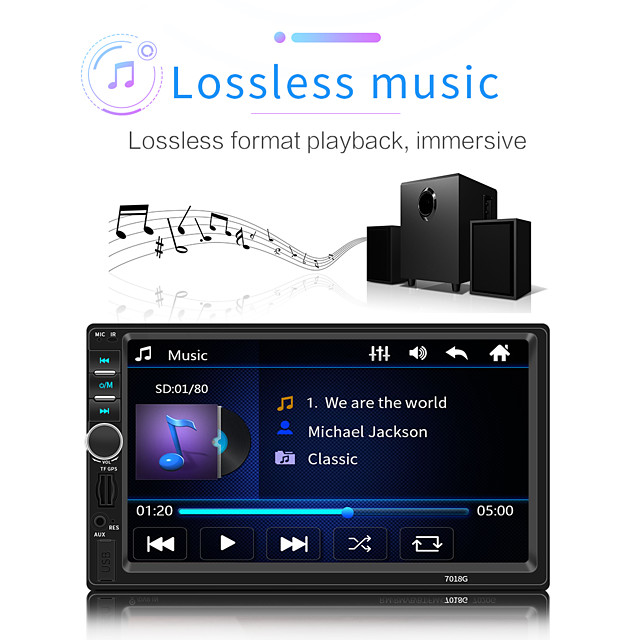 2 Din Car Radio GPS Navigation Camera 7'' Touch Screen Bluetooth Autoradio Multimedia MP5 Player 7018G Audio Stereo 12V