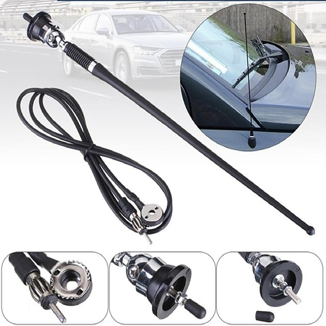 Universal Car Stereo 36cm Rubber Mast Antenna Roof Mount Aerial  Radio Rod AM FM Replacement 130cm